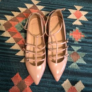 { j. crew } pink patent leather point caged flats